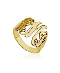 Gold monogram ring in10k solid gold - real solid gold