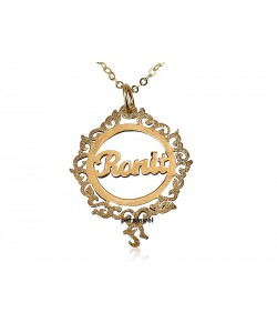 Gold name necklace in circle sparkling texture - Come in 14k real gold pendant and chain