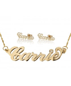 Gold  plate name necklace and match stud earrings Carrie font set
