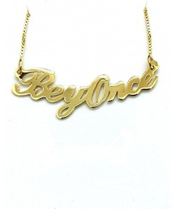 Gold name plate necklace beyonce style Any name or word