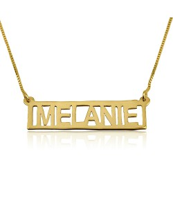 Gold name necklace block bar style made of 14k solid yellow gold
