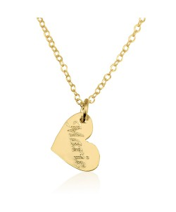 Gold plated heart necklace with engraving - Vertical