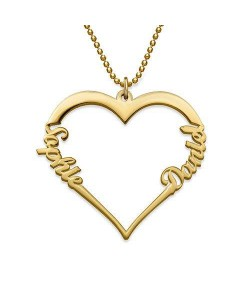 Lovers name necklace with two names - Made of 18k gold plate
