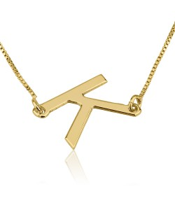 Gold plated initial necklace - Vertical