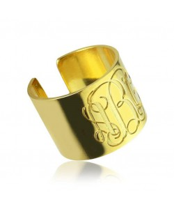 Monogram Open ring in 10k solid gold