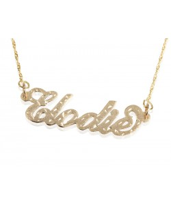 Gold plated name necklace laser cut