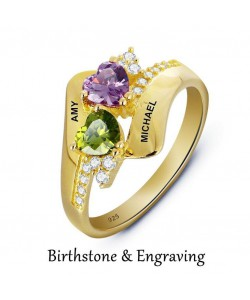 Up to 2 names Ring With Birthstones