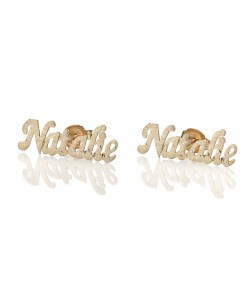 Gold stud earrings in 14k Laser cut style up to 12 letters