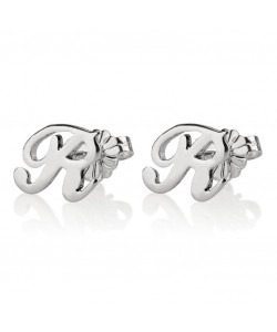 Initial earrings in 14k white gold - Any letter or number