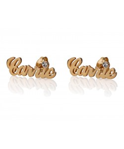 Gold stud earrings with birthstone in 14k real solid gold