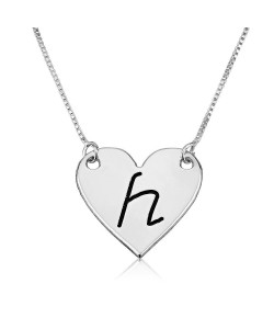 Heart in 14k white gold special gift black engraving
