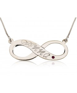 Infinity gold birthstone necklace in 14k white gold