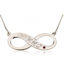 Infinity birthstone necklace in sterling silver pendant and chain