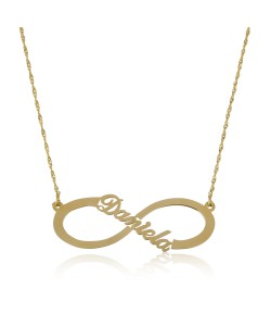 infinity symbolled gold necklace