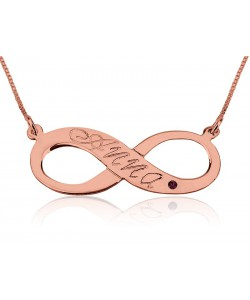 Infinity name necklace Rose gold with Birthstone