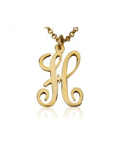 Custom Jewelry Monogrammed necklace Initial Rose Monogram Necklace