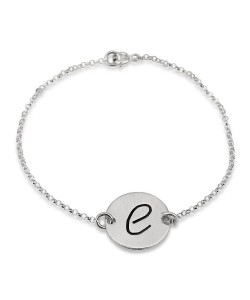 Initial Custom ankle bracelet in 14k white real gold jewelry - Black engraving