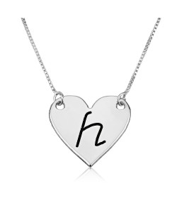 Initial necklace heart shape with black engraving made of 925 sterling silver