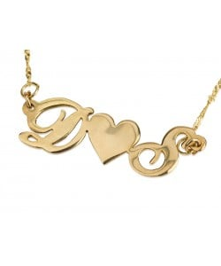Initial necklace with middle heart in 10k gold, two letters in real gold