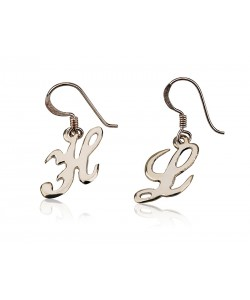 Initial Silver drop earrings