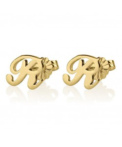 Initial stud earrings in 14k real yellow gold, custom any letter