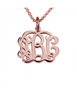 Interlocking Monogram Necklace in Rose Gold Plate