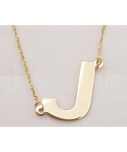 """""""J"""" 14K Solid Yellow Gold Initial Letter Necklace"""