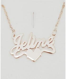 Jeline 14k Solid White Gold Middle Heart Necklace