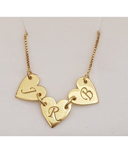 "18K Solid Yellow Gold 3 Hearts w/ Initial's ""J.R.B"" Name Necklace"