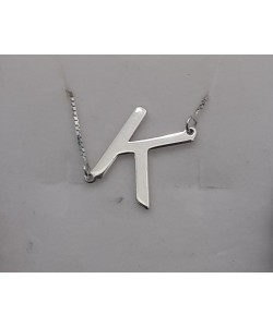 "Slanted Initia Necklace in white solid gold ""K"" necklace"