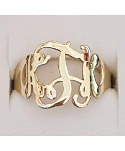 K.T.K 10k Solid Gold Celebrity Monogram Ring Design
