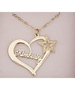 Kimberly Yellow Gold Heart Name Necklace With Sparkling Star