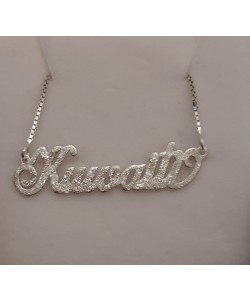 "Silver Sparkling ""Kuwaiti"" Style Name Necklace"
