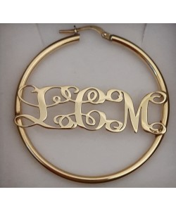 "18k Yellow Gold Plated Hoop ""L.C.M"" Monogram Earrings"