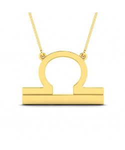 Libra zodiac sign necklace in yellow gold