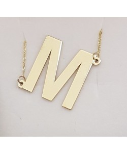 "Slanted Initial ""M"" Necklace in solid gold Personalized jewelry"