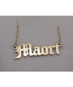 18K Gold Plated Old English Style Maori Name Necklace