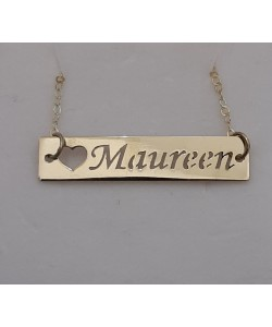 Laser bar letters in gold Maureen name necklace