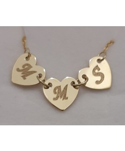 """18K Solid Yellow Gold 3 Hearts w/ Initial's """"M.M.S"""" Name Necklace"""