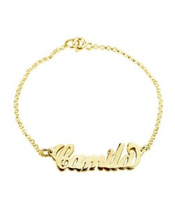 18k Gold Plated Mom Bracelet with Name Charm