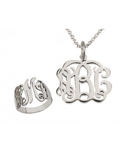 Personalized jewelry Monogram set of necklace and ring
