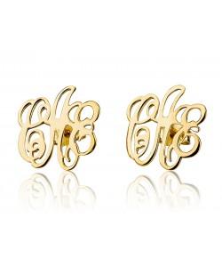 18k Solid Gold Monogram Letters Stud Earrings