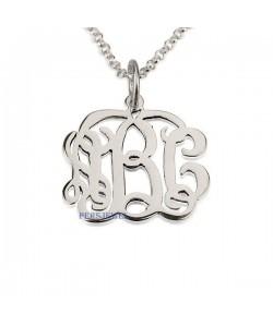 14k White Gold Classic Cutout Monogram Necklace