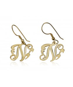 Monogrammed Personalized earrings One Letter from 18k Gold Plating