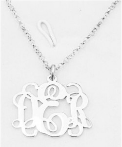 D.E.R Sterling Silver Monogram Name Necklace