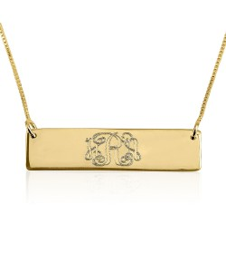 Monogram bar necklace in 18k gold plate custom jewelry with box chain
