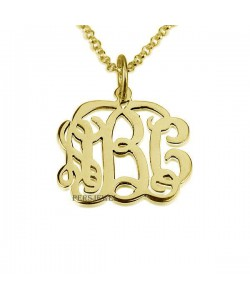 Monogram gold necklace custom jewelry in 10k solid yellow real gold up