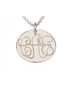 Monogram gold necklace Disc in 14k gold