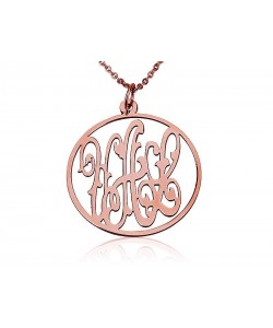 Monogram rose gold circle pendant and chain in 14k solid gold