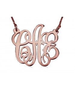 Monogram rose gold necklaces